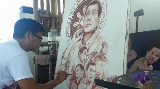 Presidejnt-Duterte-painting-blood-and-sweat